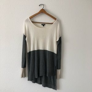 Express asymmetrical colorblock sweater